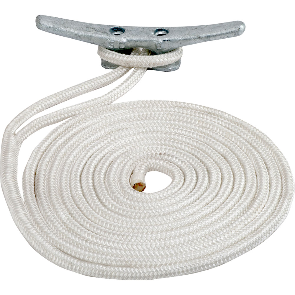 Sea-Dog Double Braided Nylon Dock Line - 1/2 inch x 10' - White - 302112010WH-1