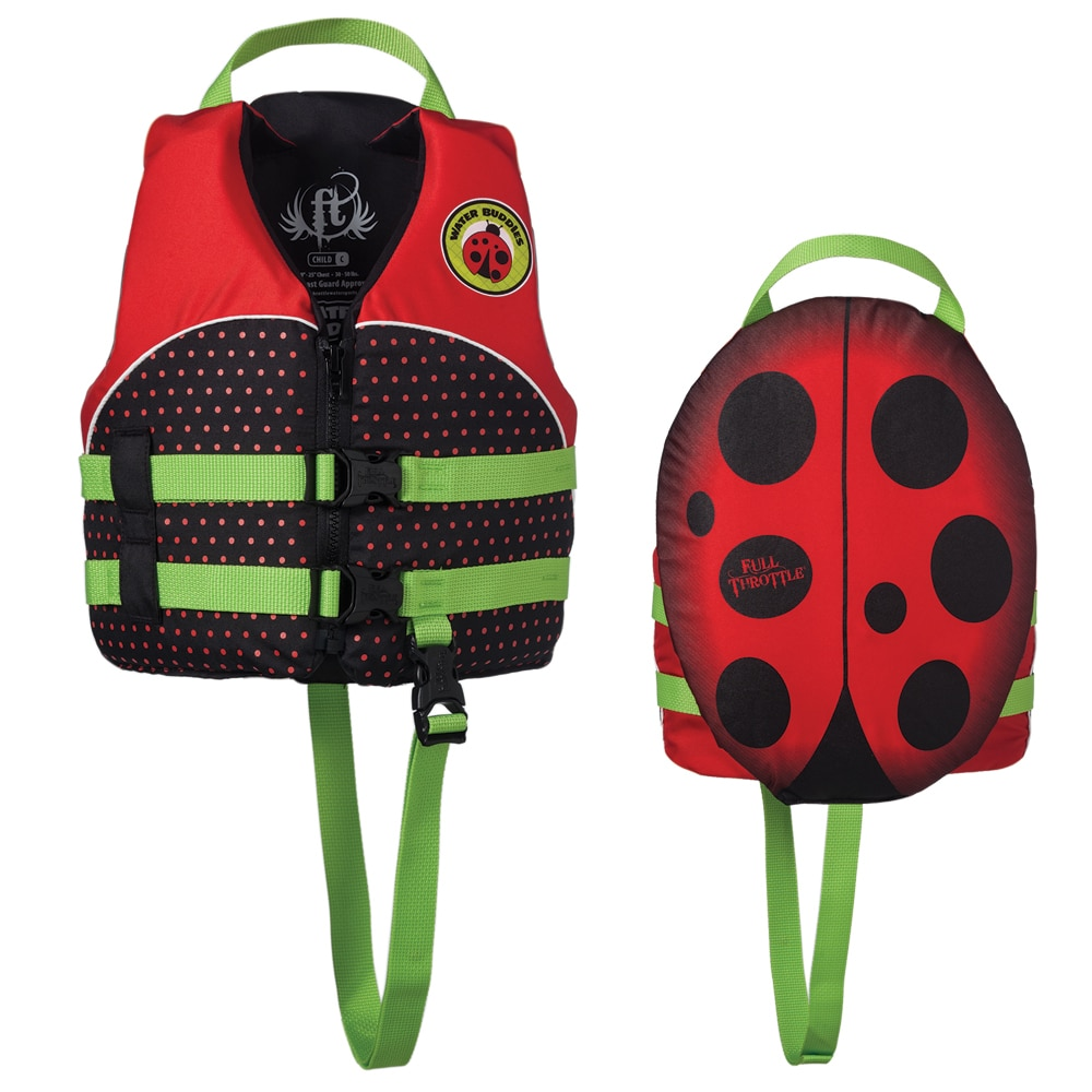 Full Throttle Water Buddies Vest - Child 30-50lbs - Ladybug - 104300-100-001-14