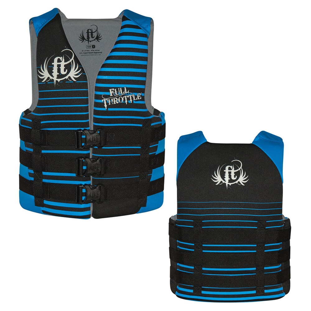 Full Throttle Rapid-Dry Life Vest - Teen 90lbs & Over - Black/Blue - 142000-500-010-16