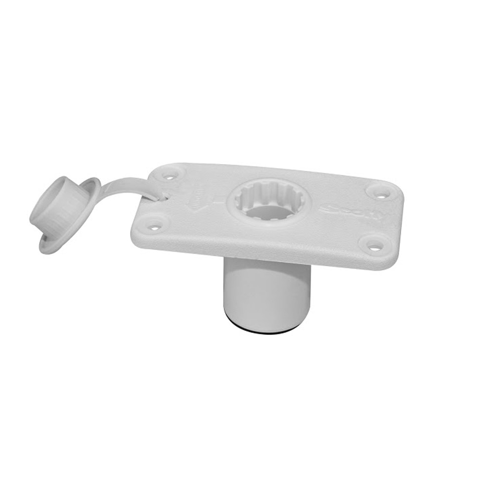 Scotty 244 Flush Deck Mount White w/Rain Cap - 244-WH