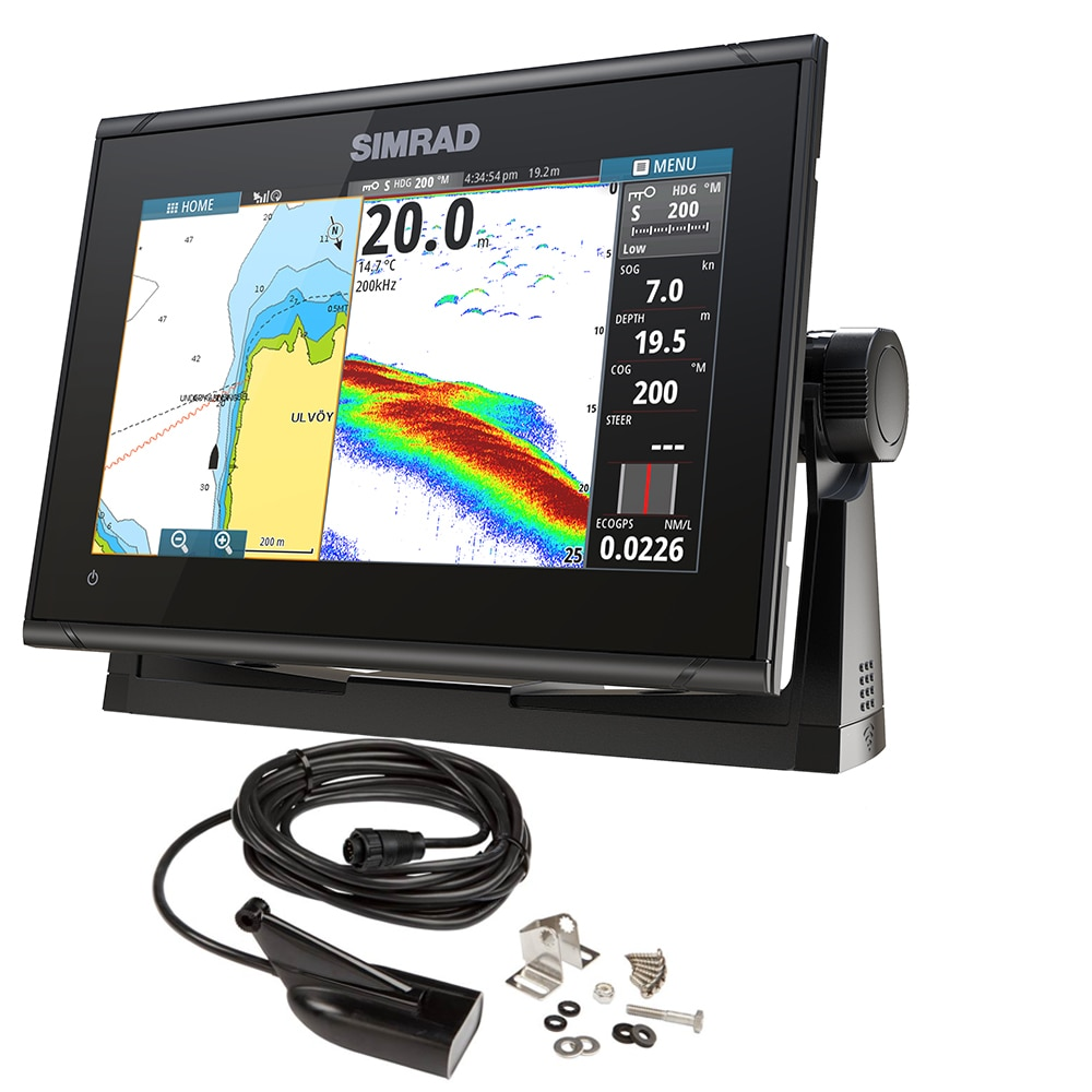 Simrad GO9 XSE Chartplotter/Fishfinder with Medium/High DownScan Transom Mount Transducer - 000-13211-001