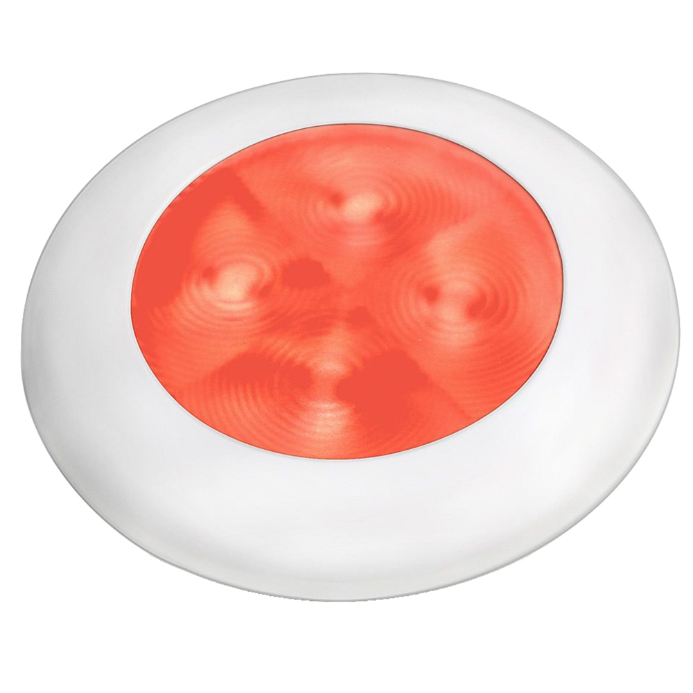 Hella Marine Slim Line LED 'Enhanced Brightness' Round Courtesy Lamp - Red LED - White Plastic Bezel - 12V - 980507241