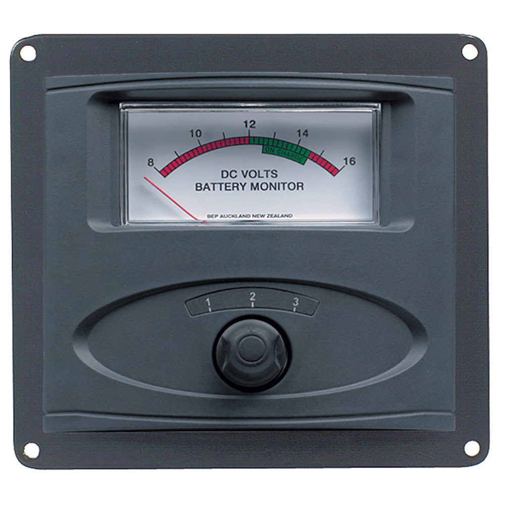 BEP 3 Input Panel Mounted Analog 12V Battery Condition Meter (Expanded Scale 8-16V DC Range) - 80-601-0020-00