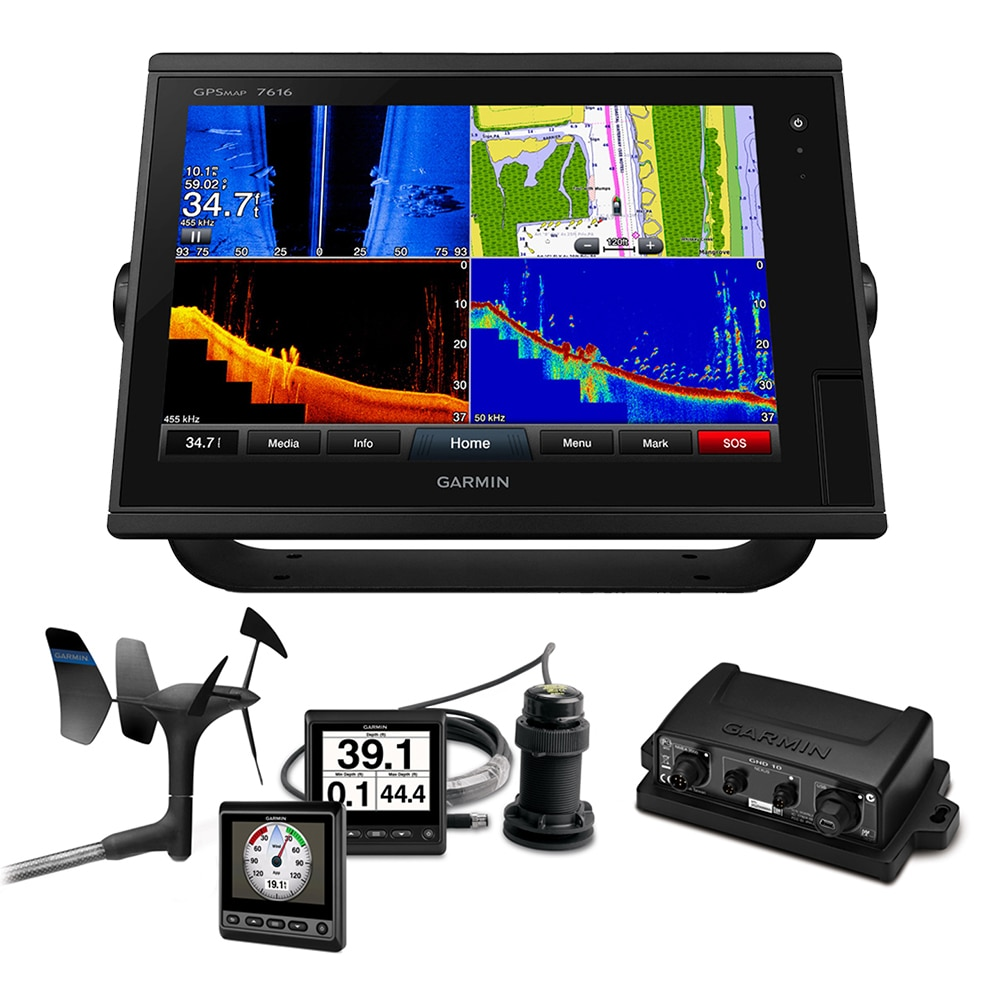 Garmin GPSMAP 7616 Sail Plus Pack with Wind, Depth & Speed Bundle with GNX20 - 010-01402-11SPP