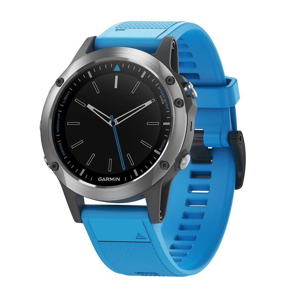 Garmin Quatix 5 Marine GPS Smartwatch - Stainless Steel w/Blue Band - 010-01688-40