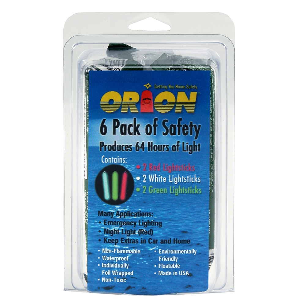 Orion Lightsticks - 6-Pack Includes 2-Green, 2-Red & 2-White - 506