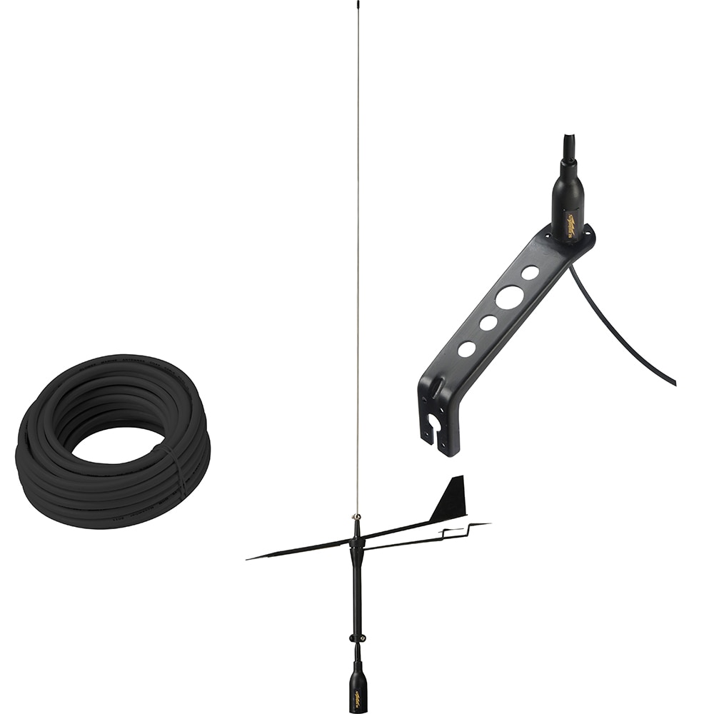 Glomex Black Swan VHF Antenna  with Wind Indicator & 66' Coax Cable - SGV80BWIBK