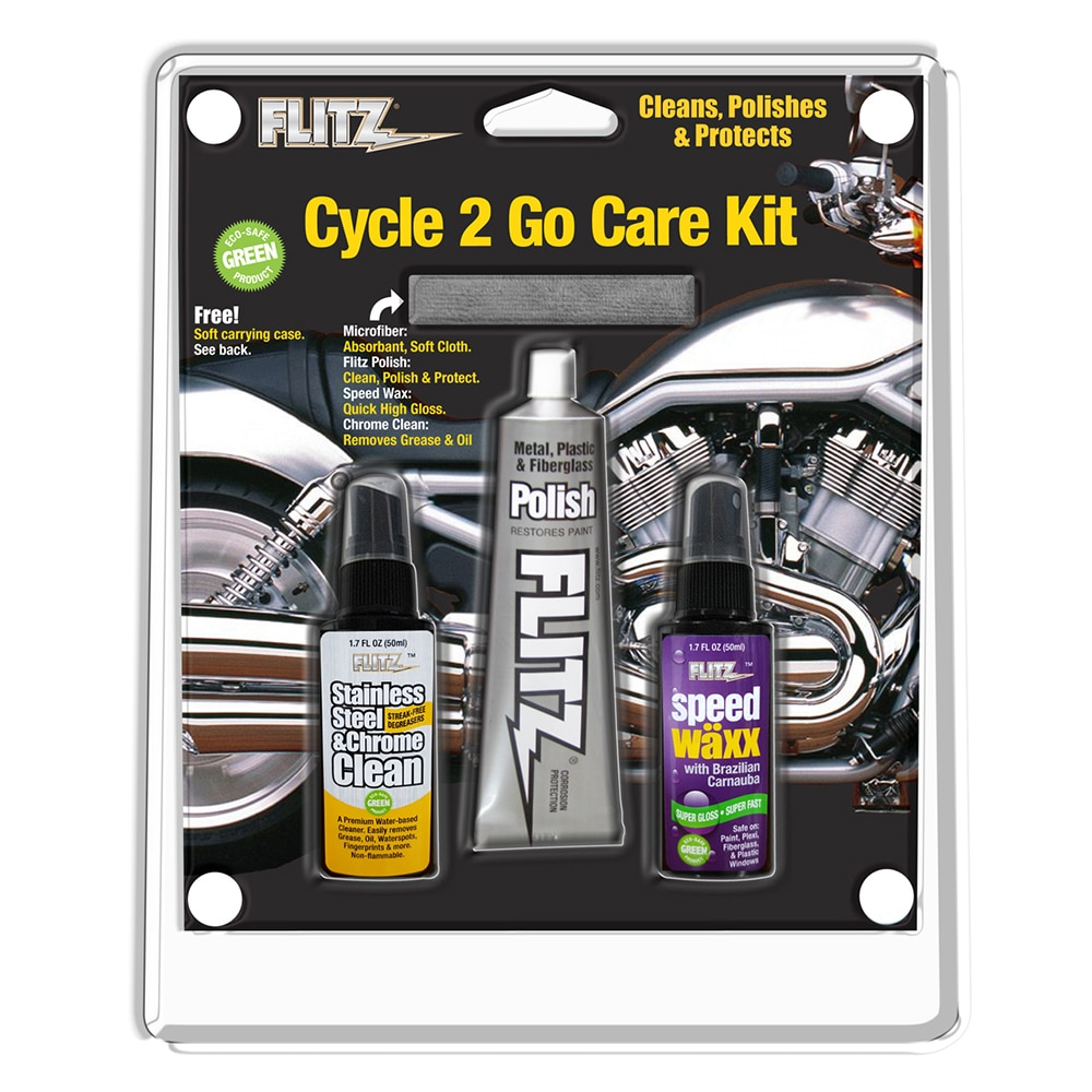 Flitz Cycle 2 Go Care Kit w/Polish, Speed Waxx Chrome Clean & Microfiber Cloth - CY 41503