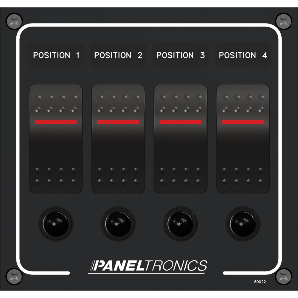 Paneltronics Waterproof Panel - DC 4-Position Illuminated Rocker Switch & Circuit Breaker - 9960022B