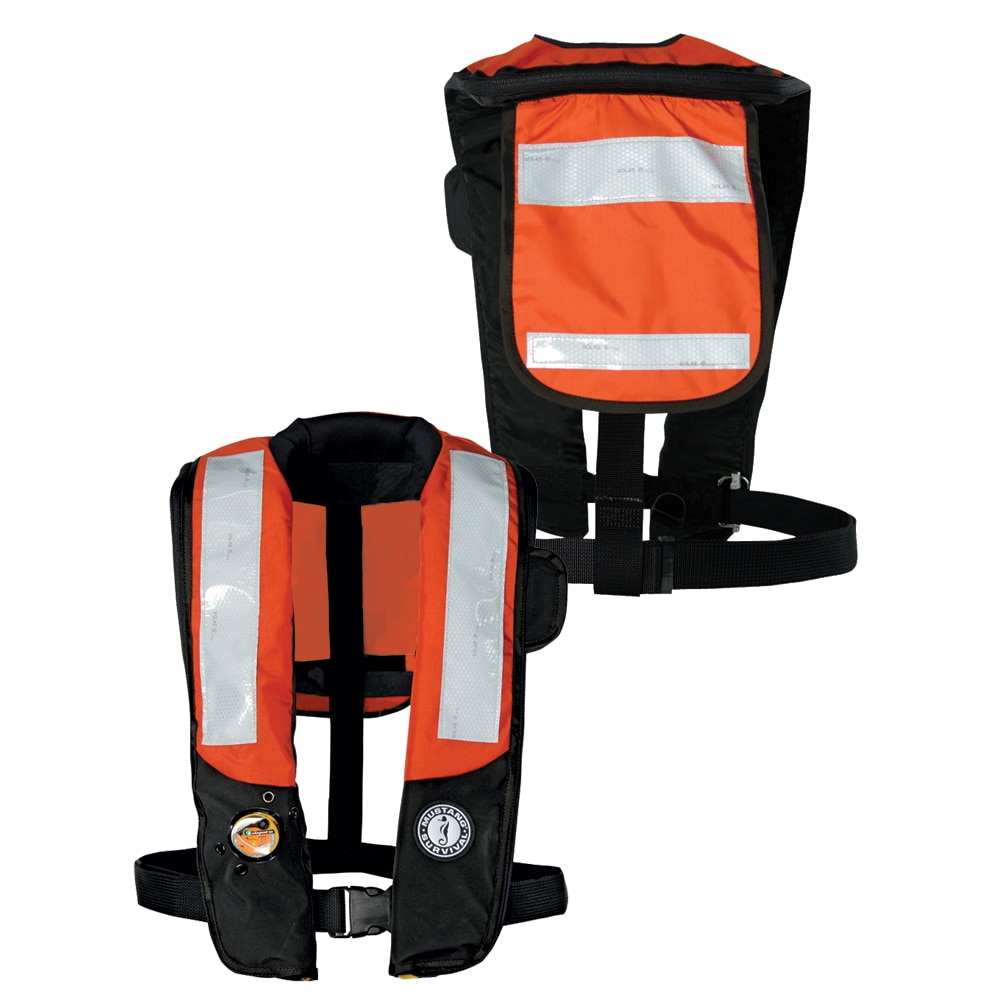 Mustang Deluxe Auto Inflatable PFD w/SOLAS Reflective Tape - Orange/Black - MD3183T2-OR/BK