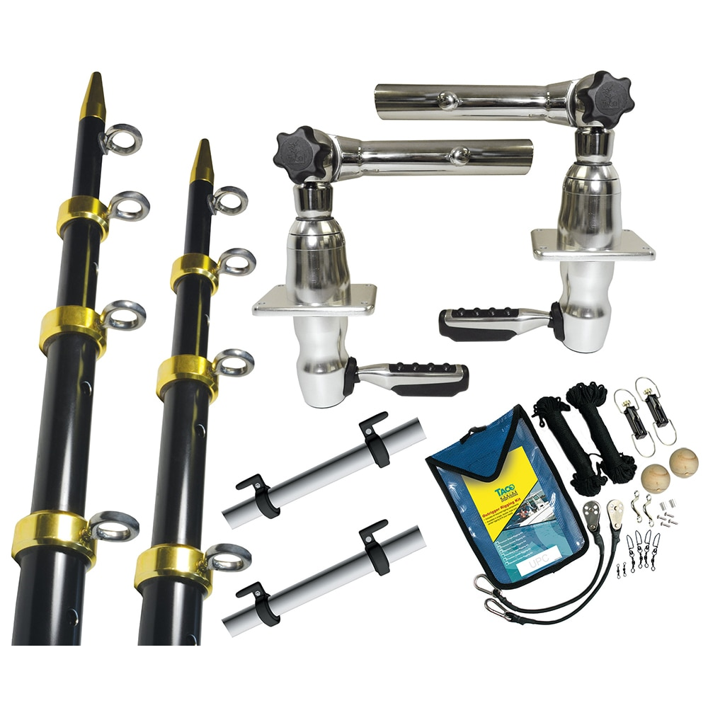 TACO Grand Slam 280 Package w/15' Black/Gold Poles, Premium Rigging Kit & Line Caddy - GS-2841BKA-1