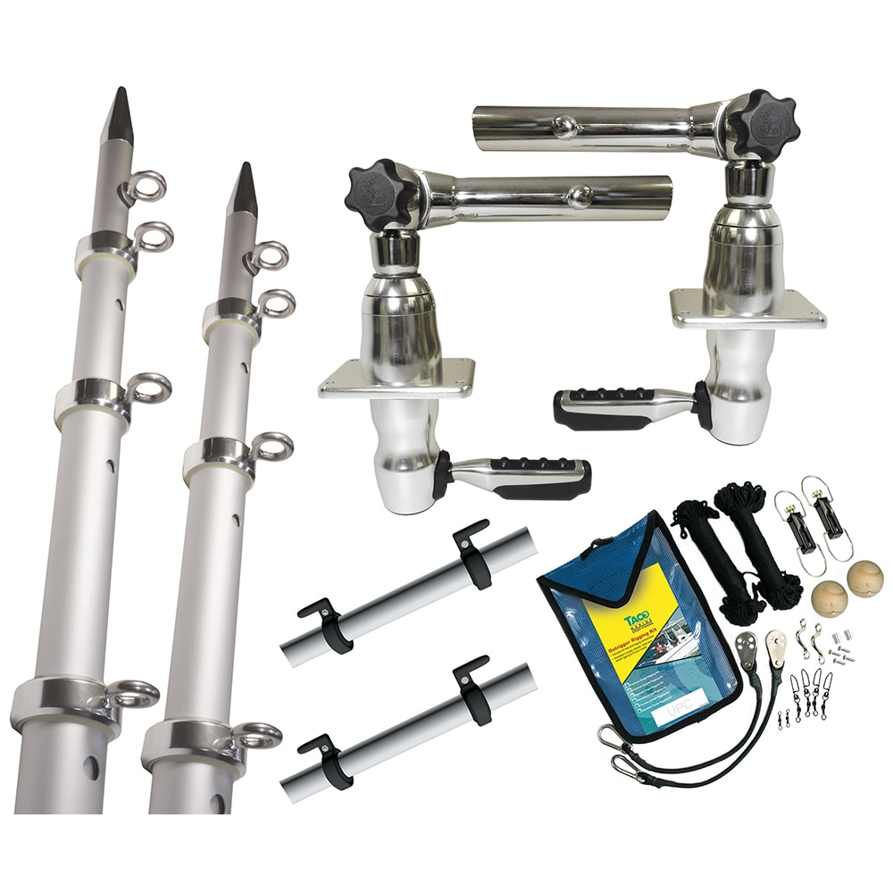 TACO Grand Slam 280 Package w/15' Silver/Silver Poles, Premium Rigging Kit & Line Caddy - GS-2842VEL-1