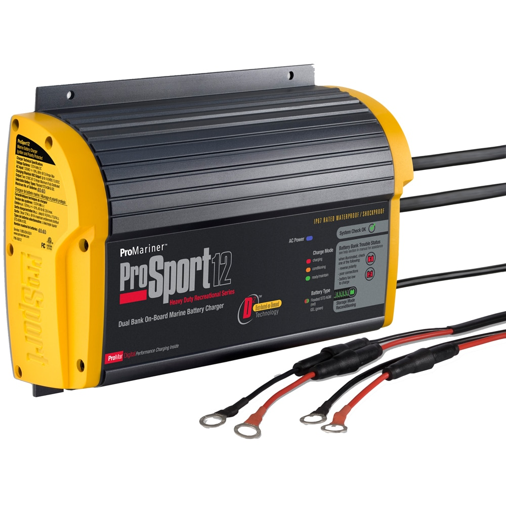 ProMariner ProSport 12 Gen 3 Heavy Duty Recreational Series On-Board Marine Battery Charger - 12 Amp - 2 Bank - 43012