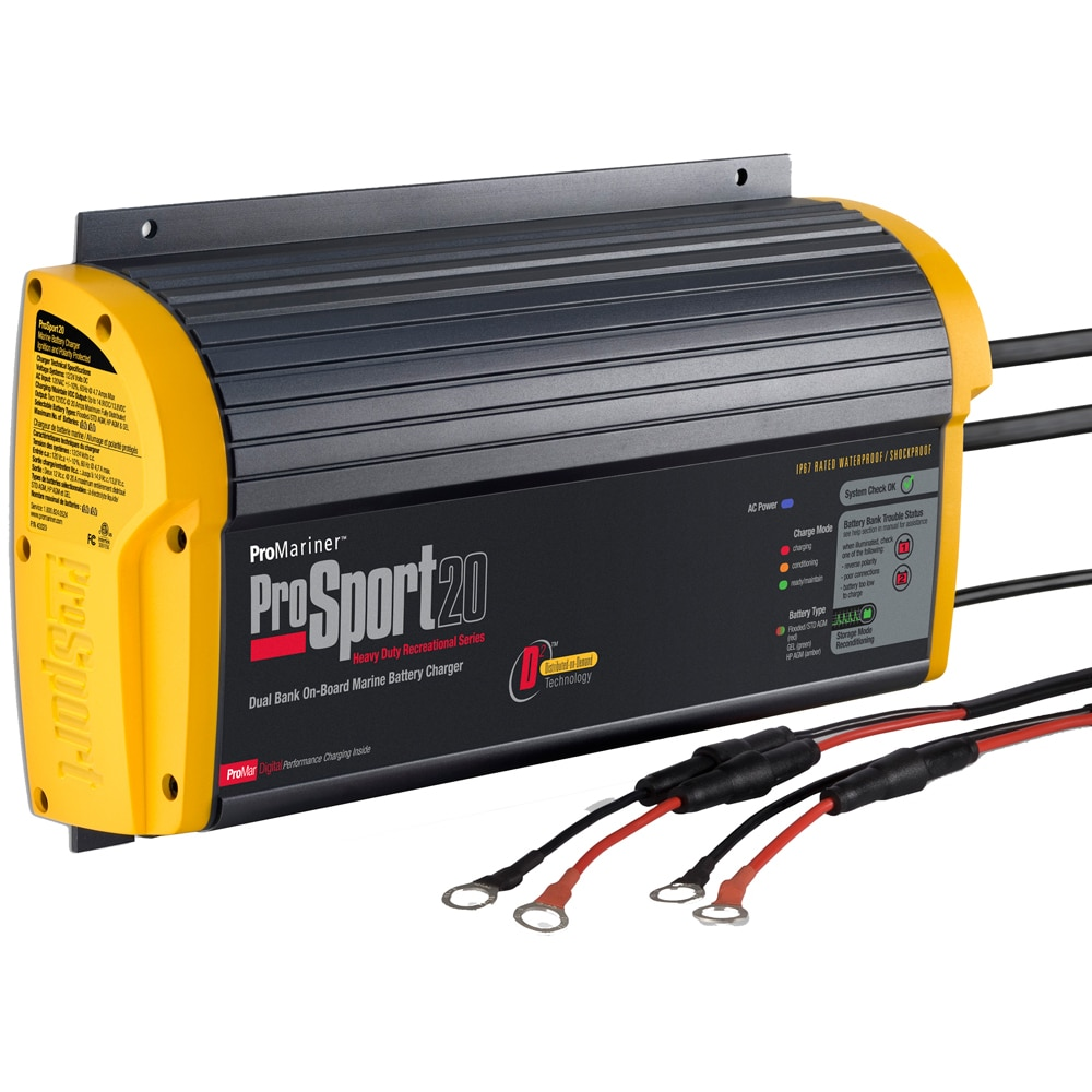 ProMariner ProSport 20 Gen 3 Heavy Duty Recreational Series On-Board Marine Battery Charger - 20 Amp - 2 Bank - 43020