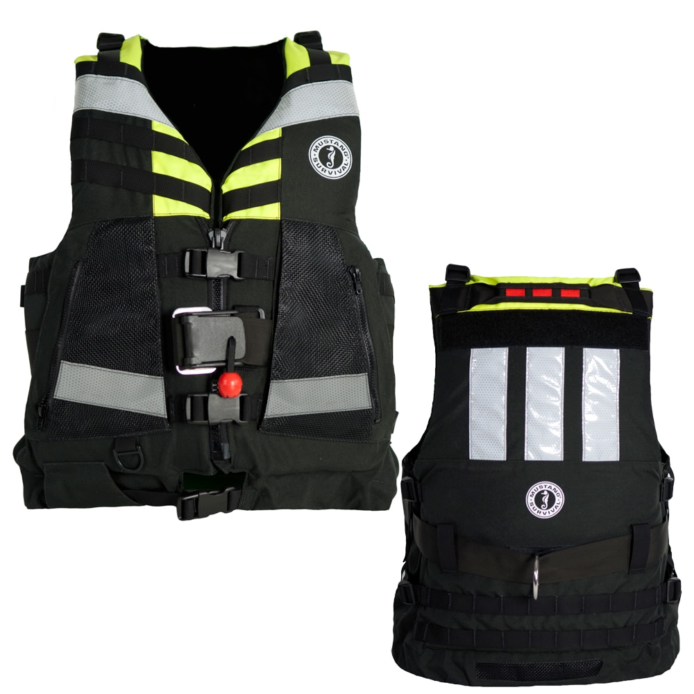 Mustang Universal Swift Water Rescue Vest - Fluorescent Yellow-Green/Black - MRV150