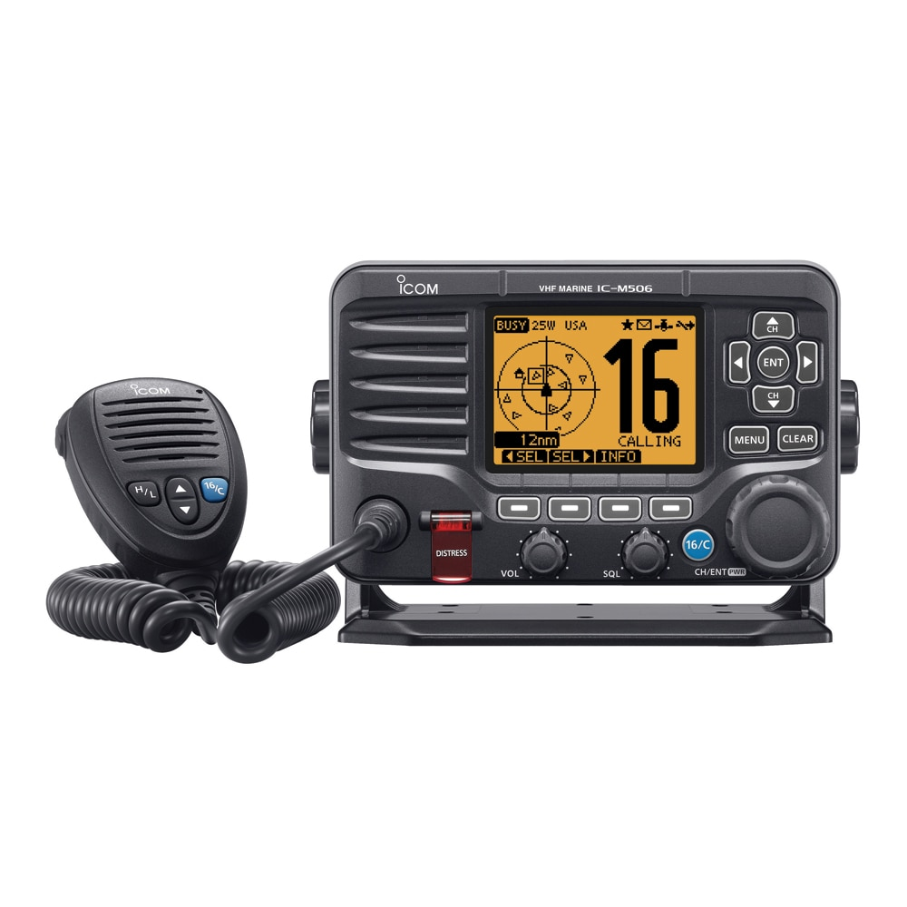 Icom M506 VHF Fixed Mount w/Front Mic & NMEA 0183/2000 - Black - M506 11