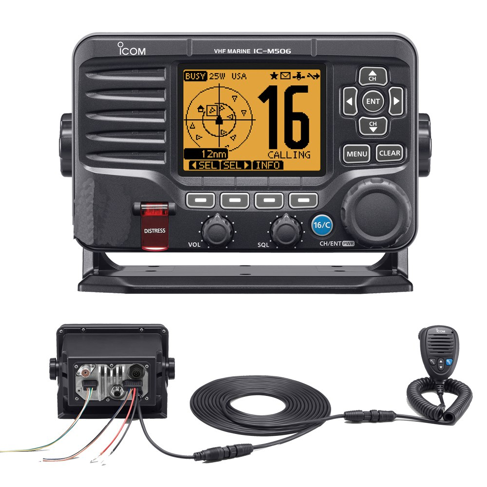 Icom M506 VHF Fixed Mount w/Rear Mic & NMEA 0183/2000 - Black - M506 31