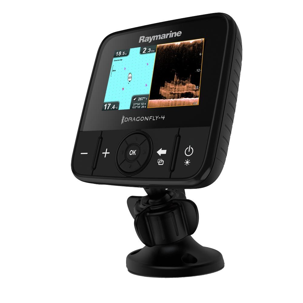 Raymarine Dragonfly 4PRO Gold Combo with Transom Mount Transducer & Navionics Gold Lakes, Rivers & Coastal Maps - E70294-NAG