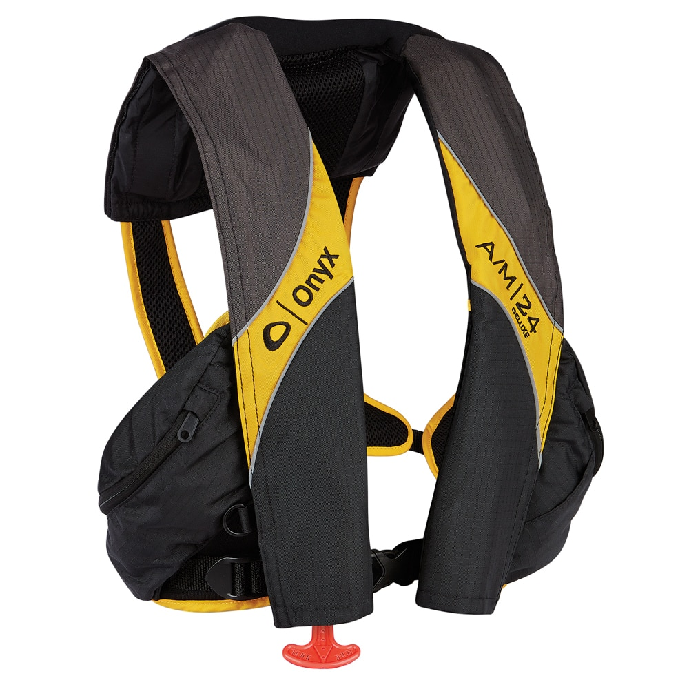 Onyx A/M-24 Deluxe Automatic/Manual Inflatable Life Jacket - Carbon/Yellow - 132100-701-004-15