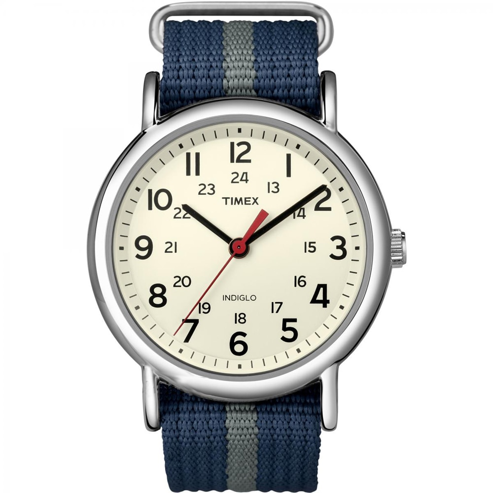 Timex Weekender Slip-Thru Watch - Navy/Gray - T2N654