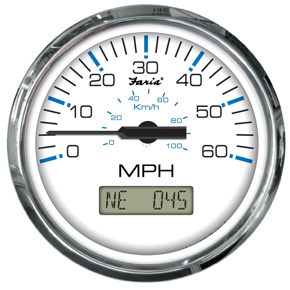 Faria KTF063 Chesapeake Tachometer Speedometer Volt Inboard Set-White SS