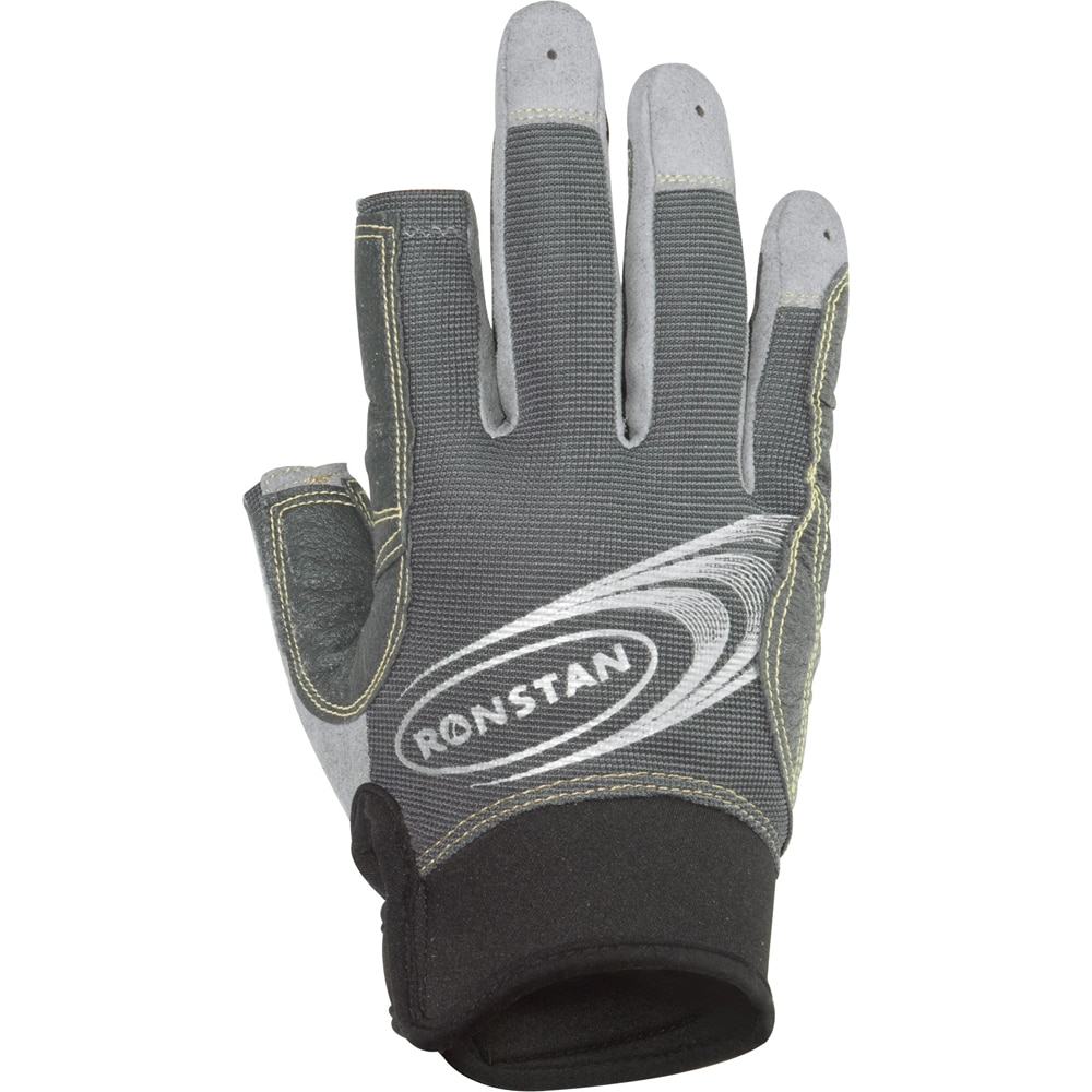 Ronstan Sticky Race Gloves with 3 Full & 2 Cut Fingers - Grey - Small - RF4881S