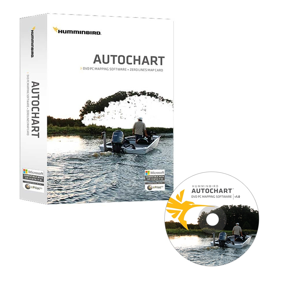 Humminbird Autochart DVD PC Mapping Software with Zero Lines Map Card - 600031-1