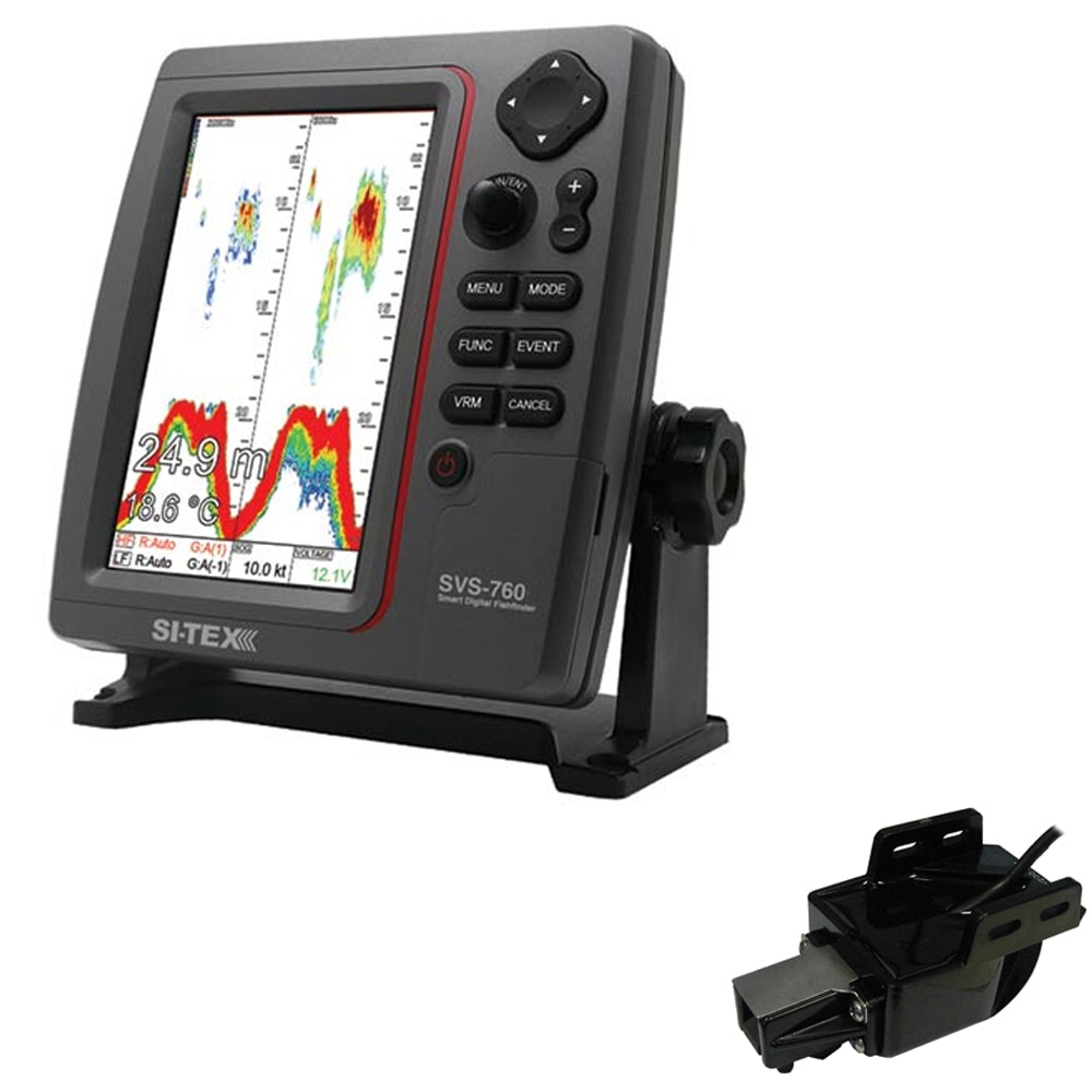 SI-TEX SVS-760 Dual Frequency Sounder 600W Kit with Transom Mount Triducer - SVS-760TM