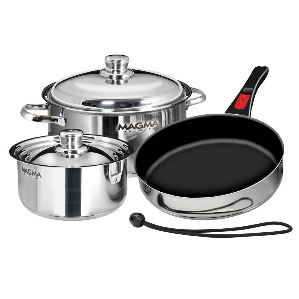 Magma Nestable 7-Piece Cookware - Stainless Steel/Slate Black Ceramica Non-Stick Interior - A10-363-2