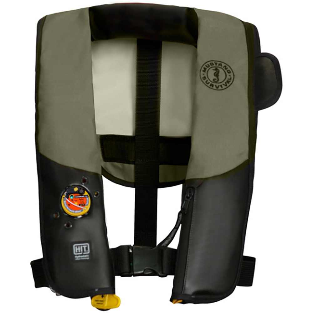 Mustang HIT Inflatable PFD for Law Enforcement - Automatic - Olive/Black with Customizable Back Flap - MD3183LE-152