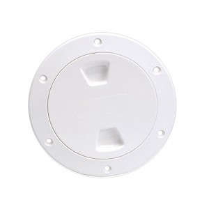 "Beckson 4"" Smooth Center Screw-Out Deck Plate - White - DP40-W"