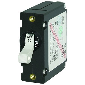 Blue Sea 7222 AC / DC Single Pole Magnetic World Circuit Breaker  -  30 Amp