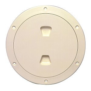 "Beckson 6"" Smooth Center Screw-Out Deck Plate - Beige - DP60-N"