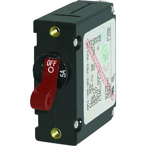 Blue Sea 7201 AC / DC Single Pole Magnetic World Circuit Breaker  -  5A