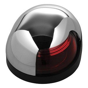 Attwood Quasar™ 2-Mile Deck Mount, Red Sidelight - 12V - HIPP/Chrome Housing w/Black Base - 3153R7