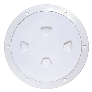 "Beckson 8"" Smooth Center Screw-Out Deck Plate - White - DP80-W"
