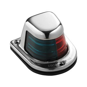 Attwood 1-Mile Deck Mount, Bi-Color Red/Green Combo Sidelight - 12V - Stainless Steel Housing - 66318-7
