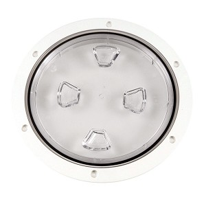 "Beckson 8"" Clear Center Screw-Out Deck Plate - White - DP80-W-C"