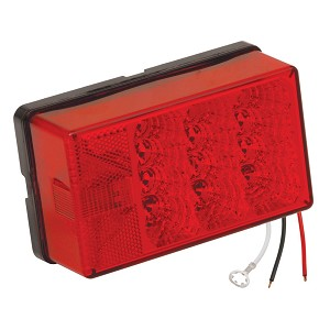 "Wesbar 4"" x 6"" Waterproof LED 8-Function, Left/Curbside w/3 Wire 90 deg Pigtail Trailer Light - 407555"