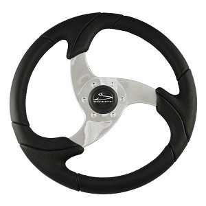 "Ongaro Folletto 14.2"" Black Poly Steering Wheel w/ Polished Spokes and Black Cap - Fits 3/4"" Tapered Shaft Helm - PU026101"