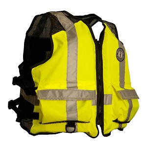 Mustang High Visibility Industrial Mesh Vest - L/XL - Yellow/Black - MV1254T3-L/XL