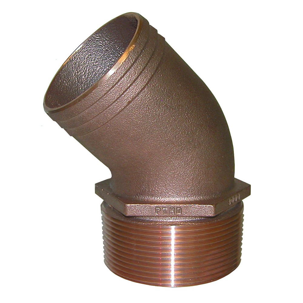 "GROCO 3/4"" NPT Bronze 45 Degree Pipe to 3/4"" Hose - PTHD-750"